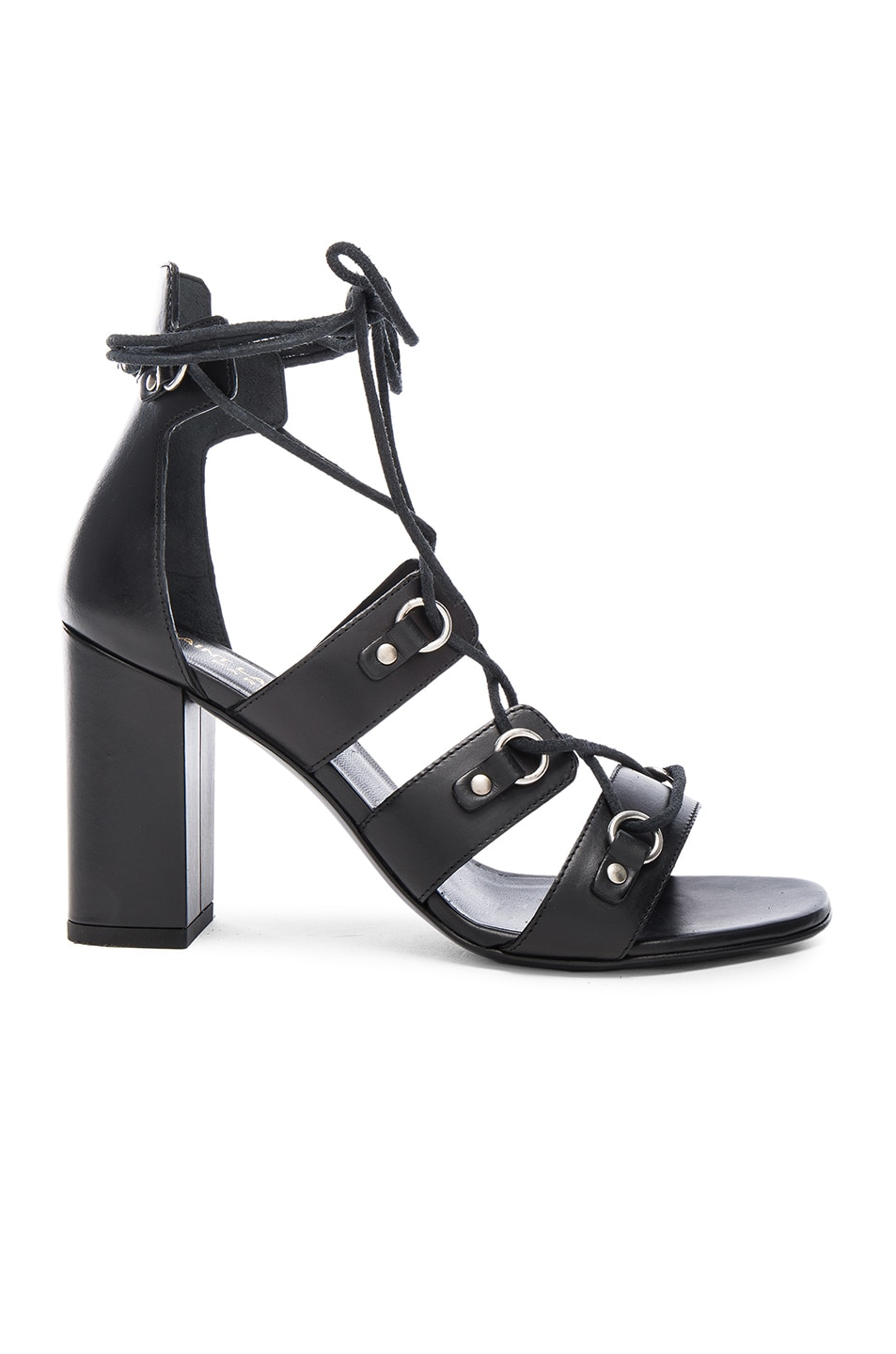 Image 1 of Saint Laurent Babies Leather Lace Up Heels in Black