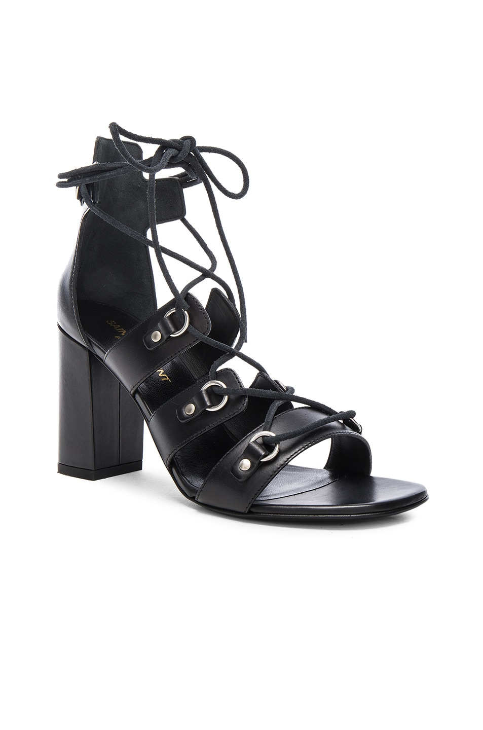 Image 2 of Saint Laurent Babies Leather Lace Up Heels in Black