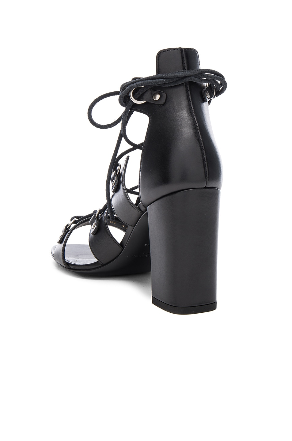 Image 3 of Saint Laurent Babies Leather Lace Up Heels in Black