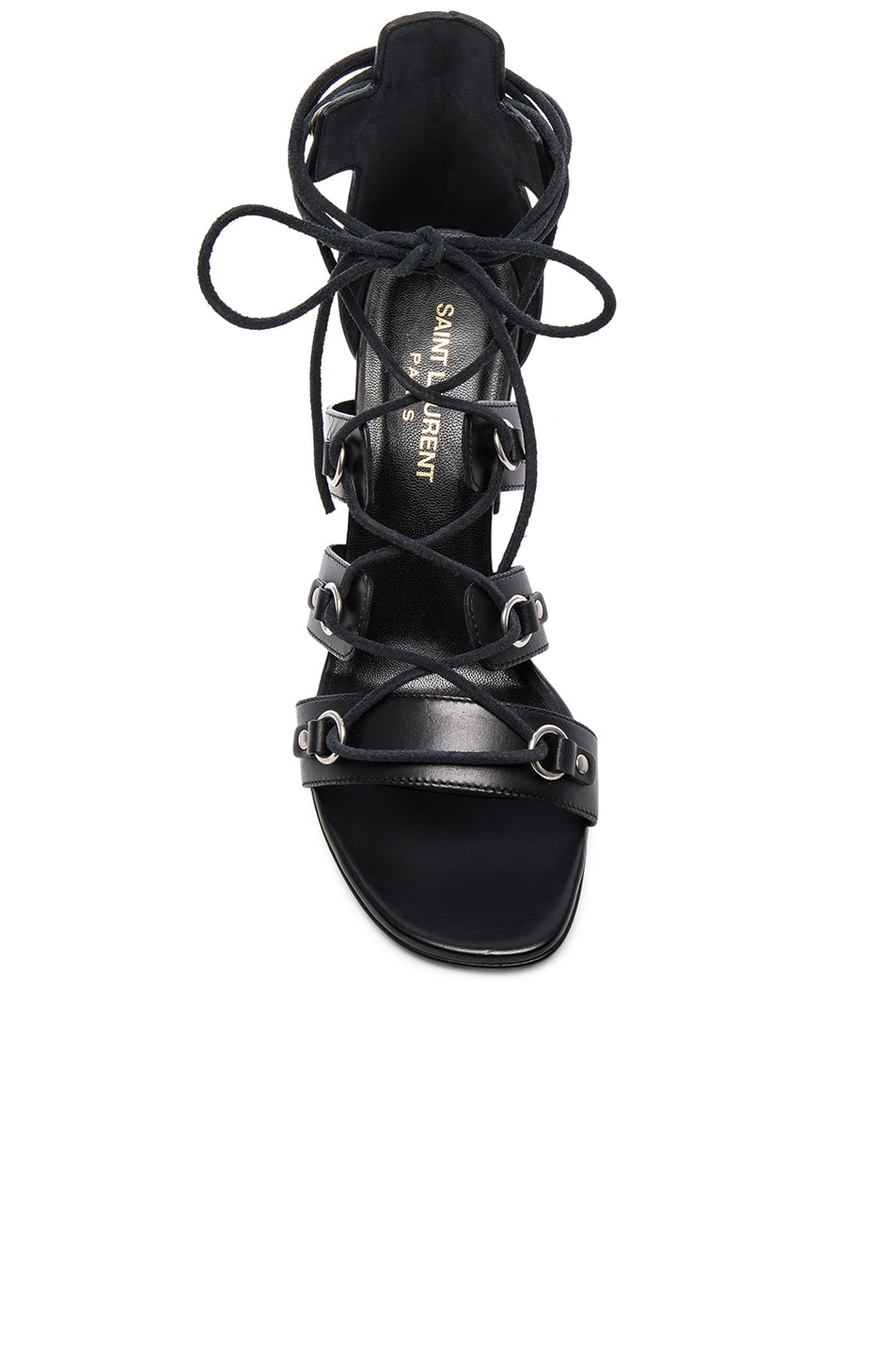 Image 4 of Saint Laurent Babies Leather Lace Up Heels in Black