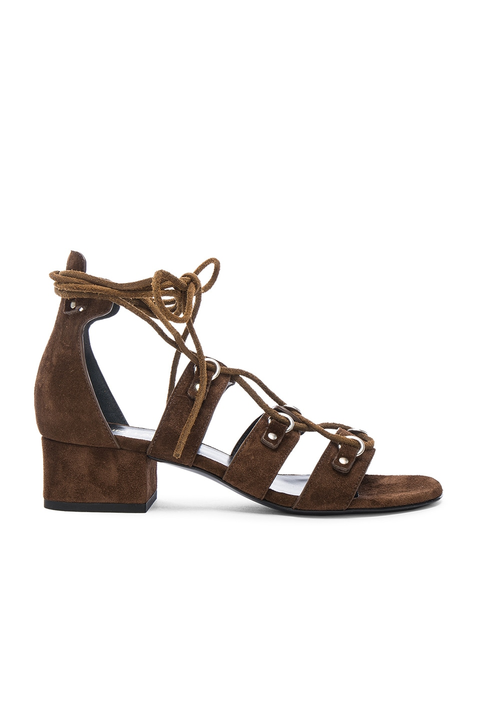 Image 1 of Saint Laurent Babies Suede Lace Up Sandals in Brown cd710e10a909