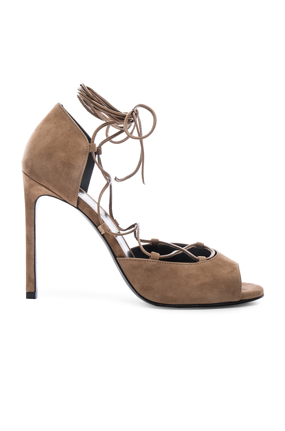 Image 1 of Saint Laurent Suede Kate Lace Up Heels in Chamois
