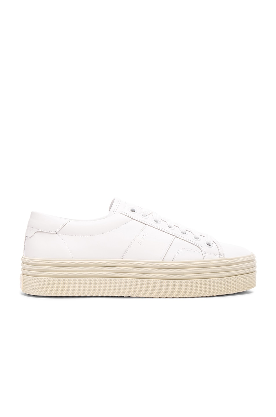 Image 1 of Saint Laurent Leather Court Classic Platform Sneakers in Off White