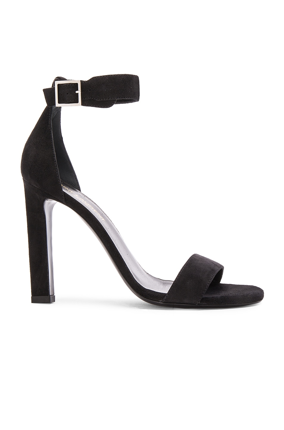 Image 1 of Saint Laurent Suede Grace Ankle Strap Heels in Black