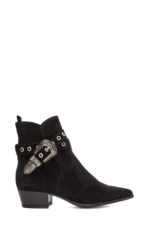 Image 1 of Saint Laurent Duckies Suede Buckle Boots in Black
