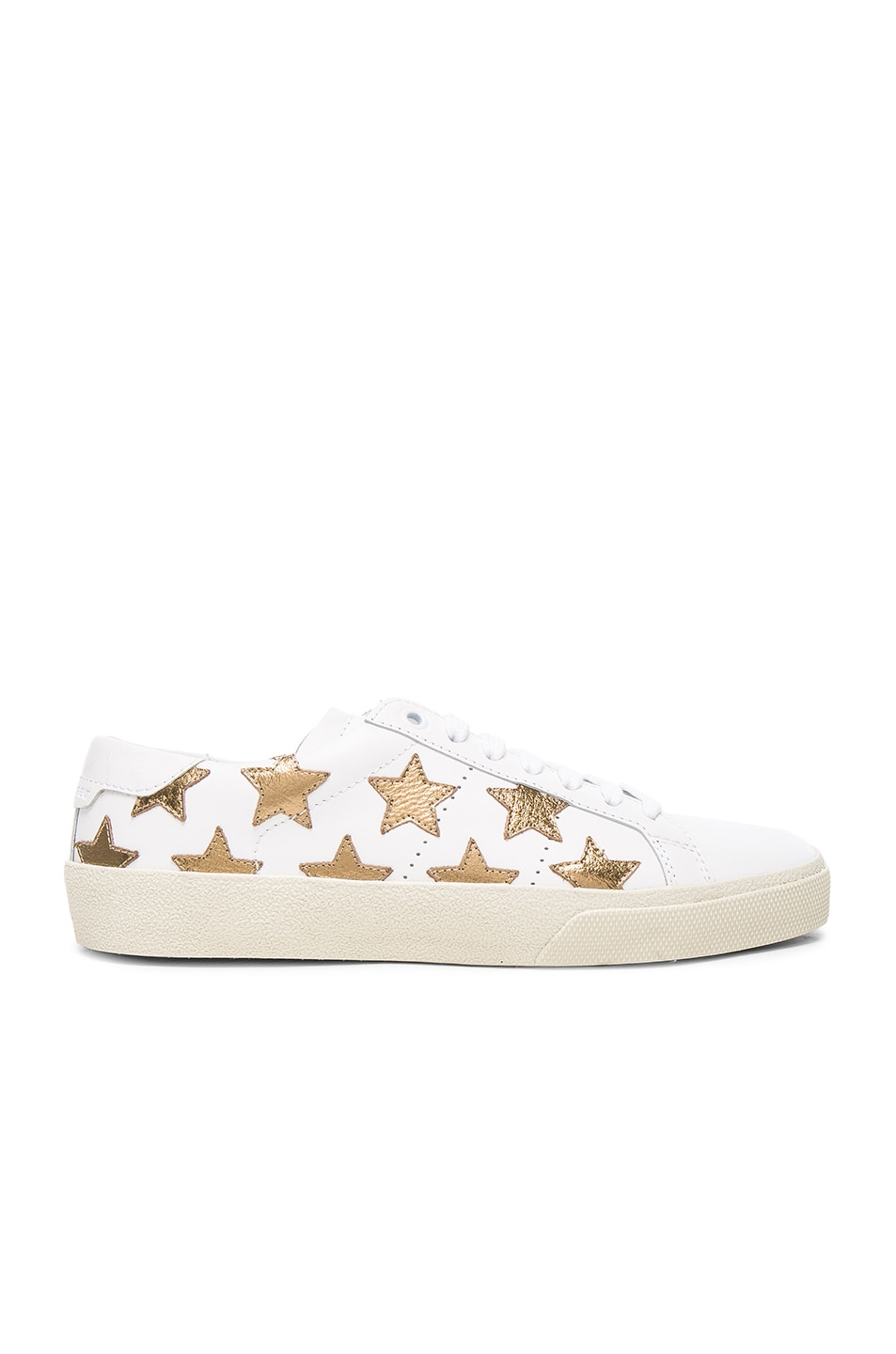 Image 1 of Saint Laurent Court Classic Star Leather Sneakers in Gold & Off White