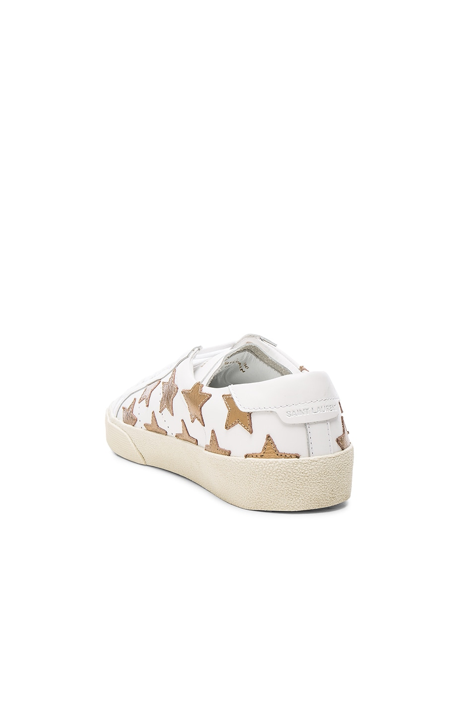 Image 3 of Saint Laurent Court Classic Star Leather Sneakers in Gold & Off White