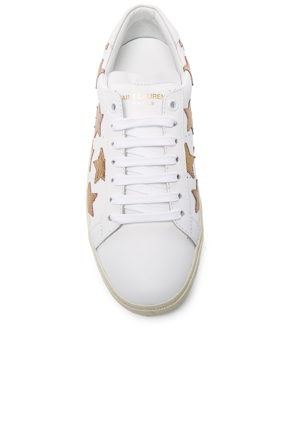 Image 4 of Saint Laurent Court Classic Star Leather Sneakers in Gold & Off White