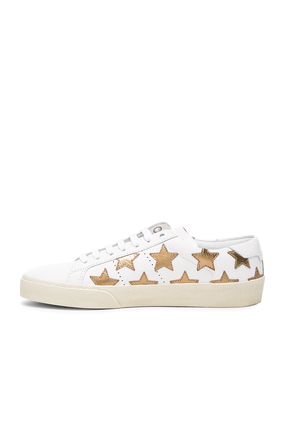 Image 5 of Saint Laurent Court Classic Star Leather Sneakers in Gold & Off White