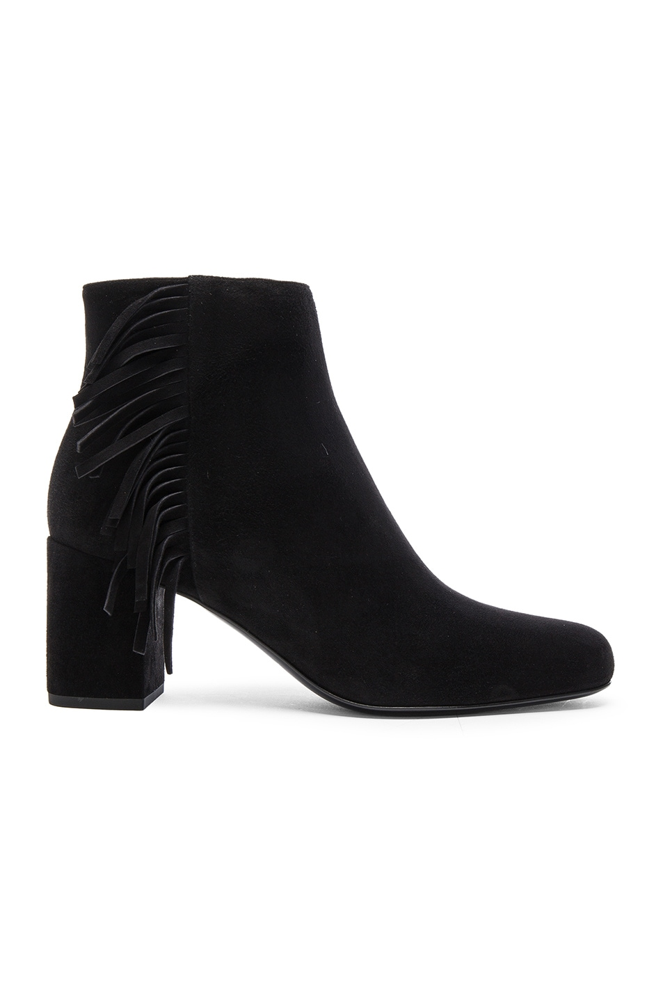 Image 1 of Saint Laurent Babies Fringe Zip Suede Boots in Black
