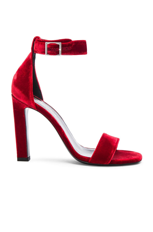 46a6036a60d Image 1 of Saint Laurent Grace Velvet Ankle Strap Sandals in Red