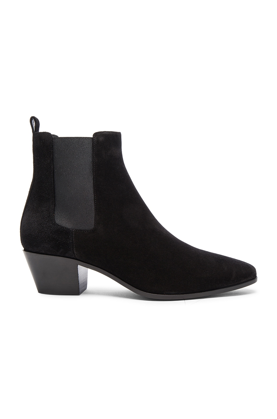 Image 1 of Saint Laurent Suede Rock Chelsea Boots in Black