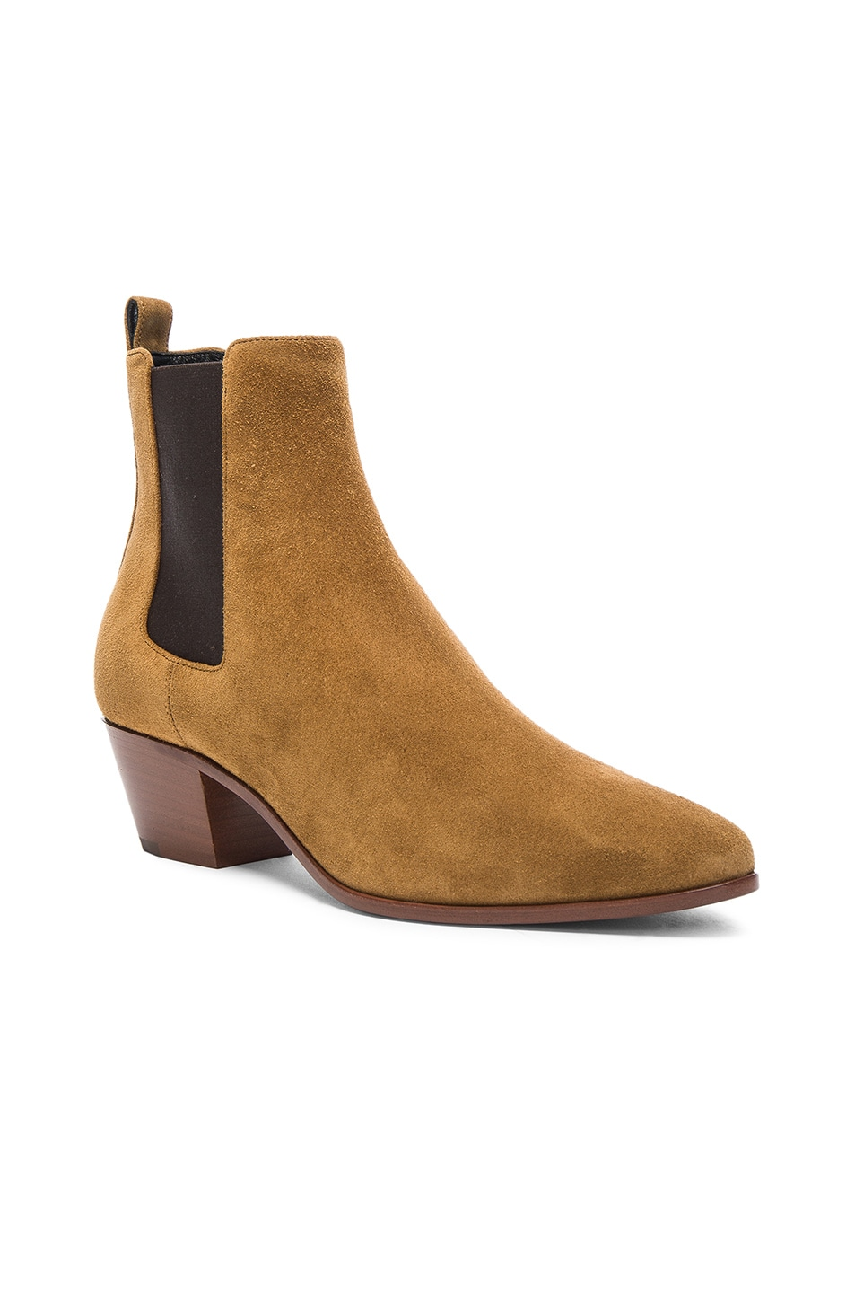 Image 2 of Saint Laurent Suede Rock Chelsea Boots in Tan