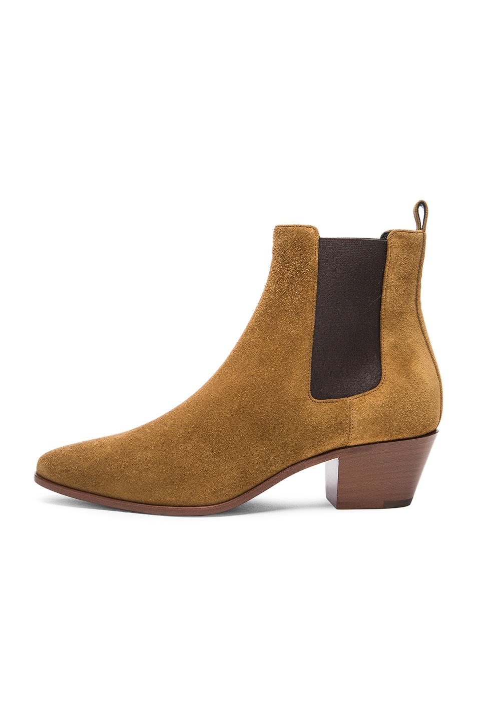 Image 5 of Saint Laurent Suede Rock Chelsea Boots in Tan