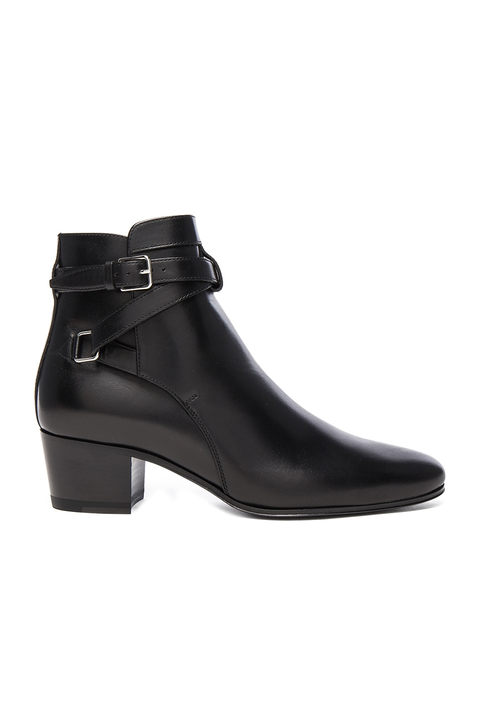 Image 1 of Saint Laurent Leather Blake Buckle Boots in Black
