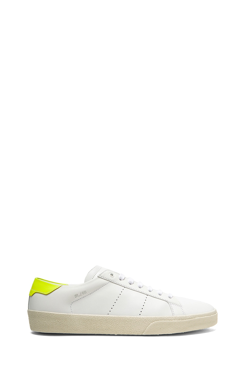 Image 1 of Saint Laurent Court Classic Leather Sneakers in Optic White & Neon Yellow