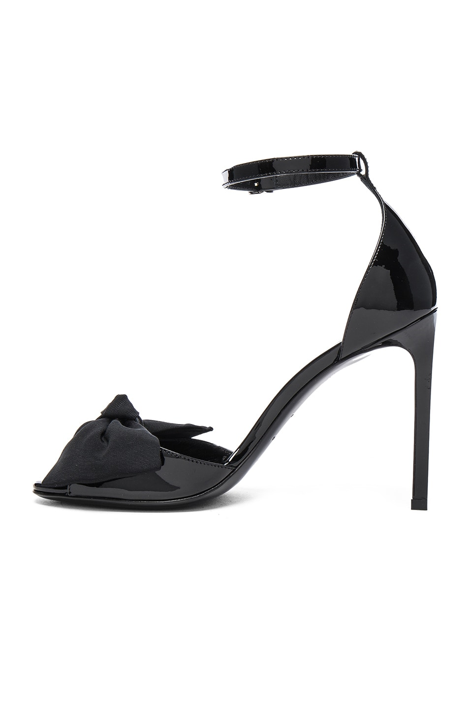 Image 5 of Saint Laurent Patent Leather Jane Bow Sandals in Black
