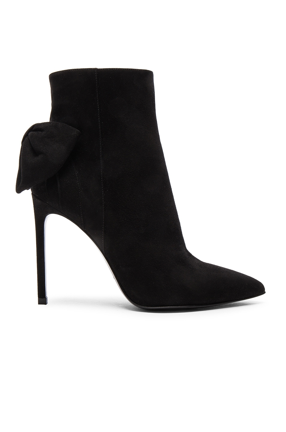 Image 1 of Saint Laurent Paris Skinny Bow Suede Booties in Black