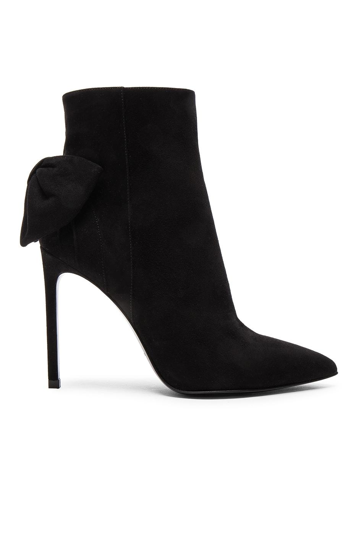 Image 1 of Saint Laurent Paris Skinny Bow Suede Booties in Black