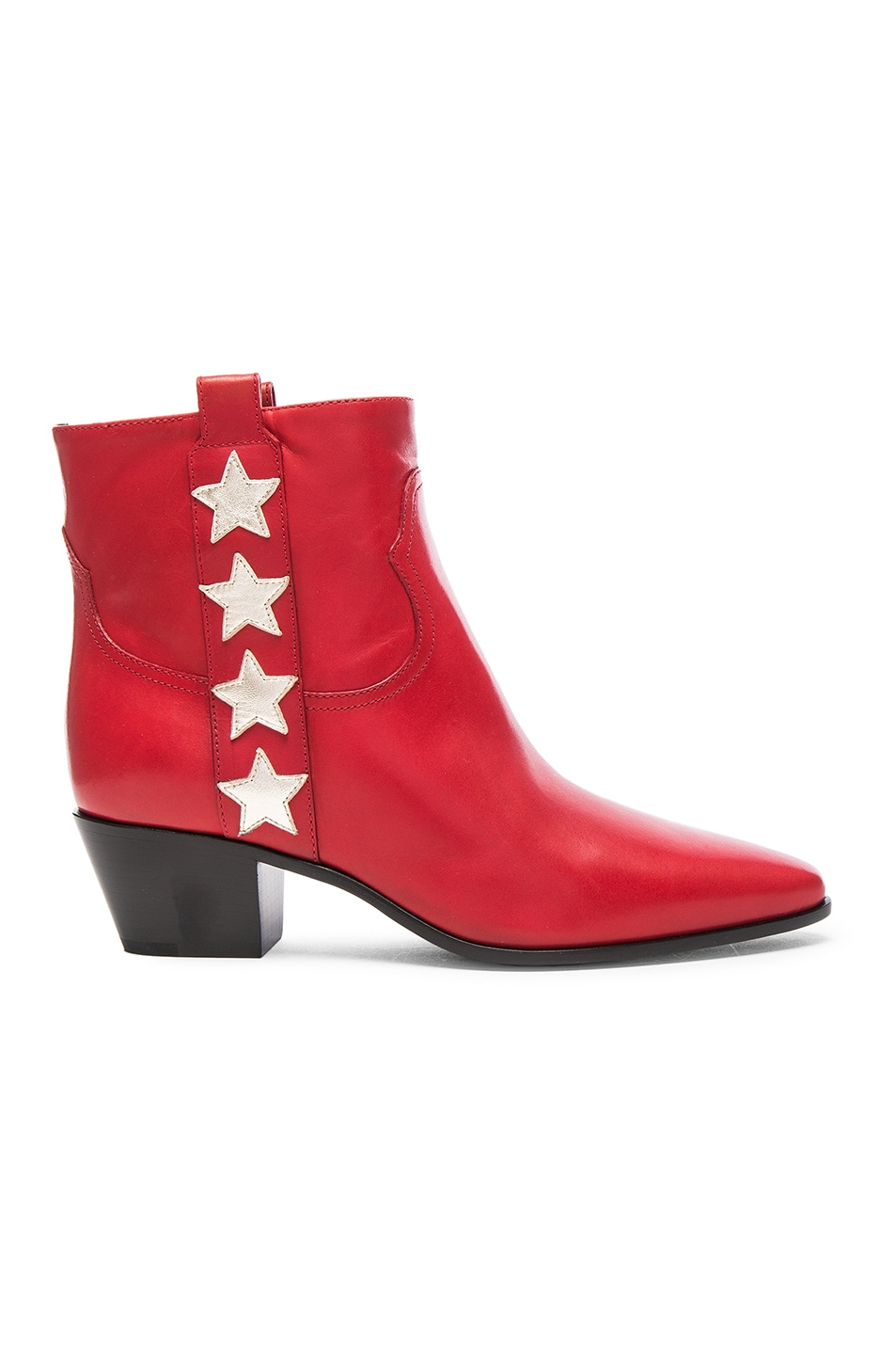 Image 1 of Saint Laurent Rock Leather Boots in Red & Pale Gold