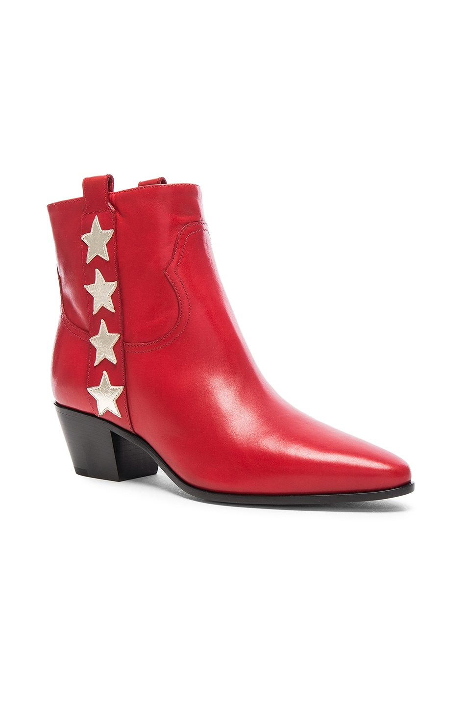 Image 2 of Saint Laurent Rock Leather Boots in Red & Pale Gold