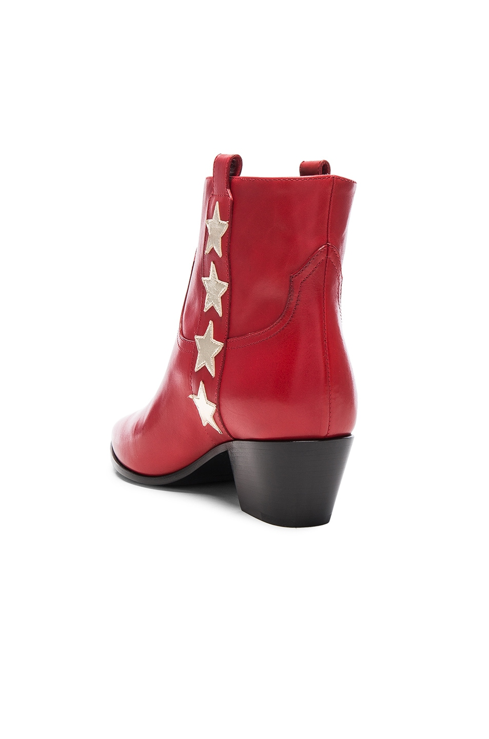 Image 3 of Saint Laurent Rock Leather Boots in Red & Pale Gold