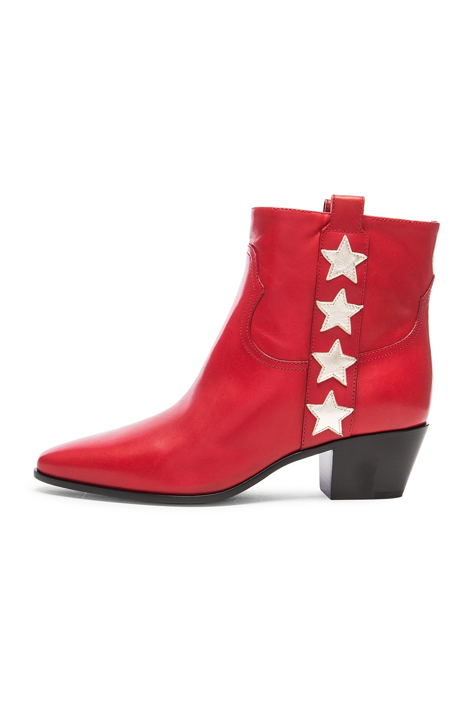 Image 5 of Saint Laurent Rock Leather Boots in Red & Pale Gold