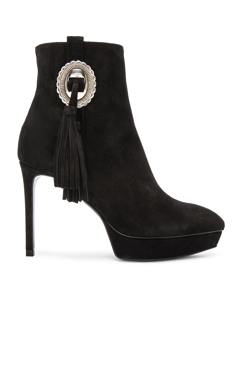 Image 1 of Saint Laurent Suede Janis Concho Boots in Black