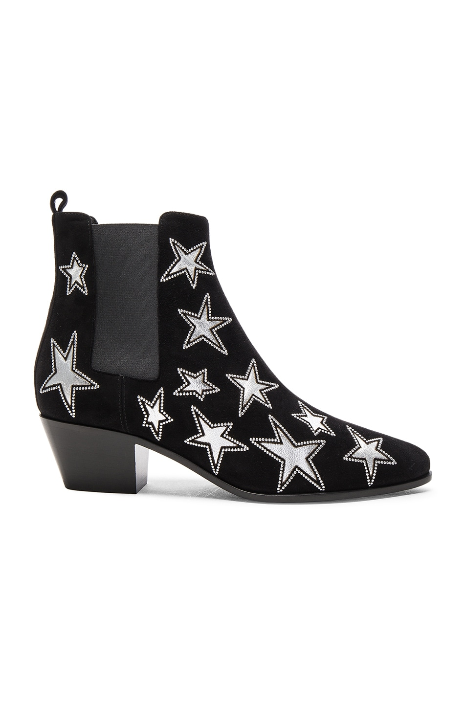 Image 1 of Saint Laurent Rock Suede & Metallic Leather Boots in Black & Palladium