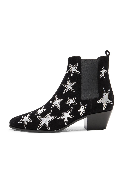 Image 5 of Saint Laurent Rock Suede & Metallic Leather Boots in Black & Palladium
