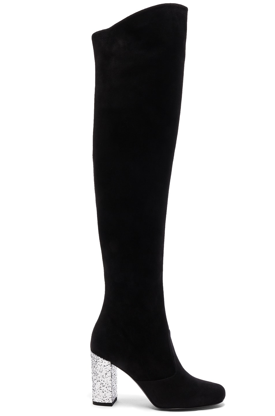 Image 1 of Saint Laurent BB Suede & Glitter Boots in Black & Platinum