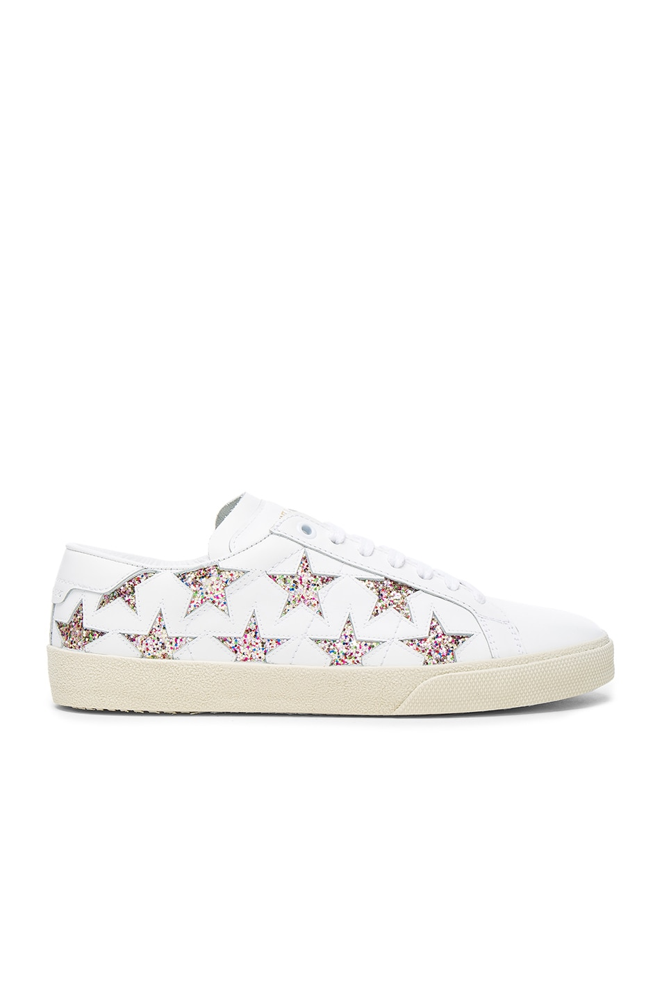 Image 1 of Saint Laurent Leather Court Classic Glitter Star Sneakers in Off White