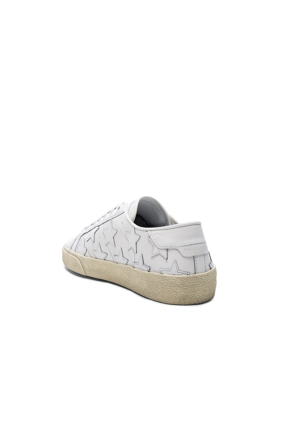 Image 3 of Saint Laurent Leather Court Classic Star Sneakers in Off White