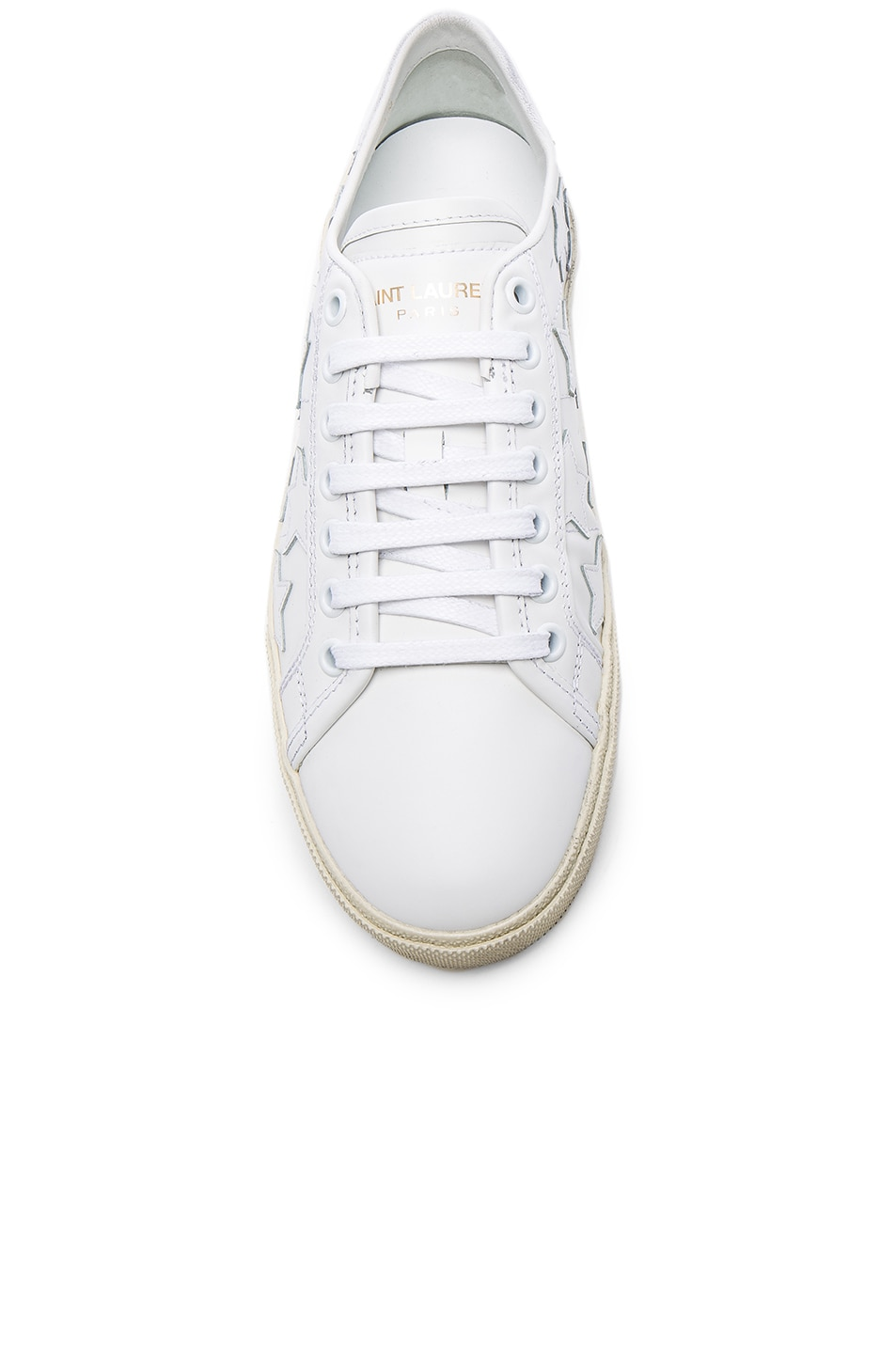 Image 4 of Saint Laurent Leather Court Classic Star Sneakers in Off White