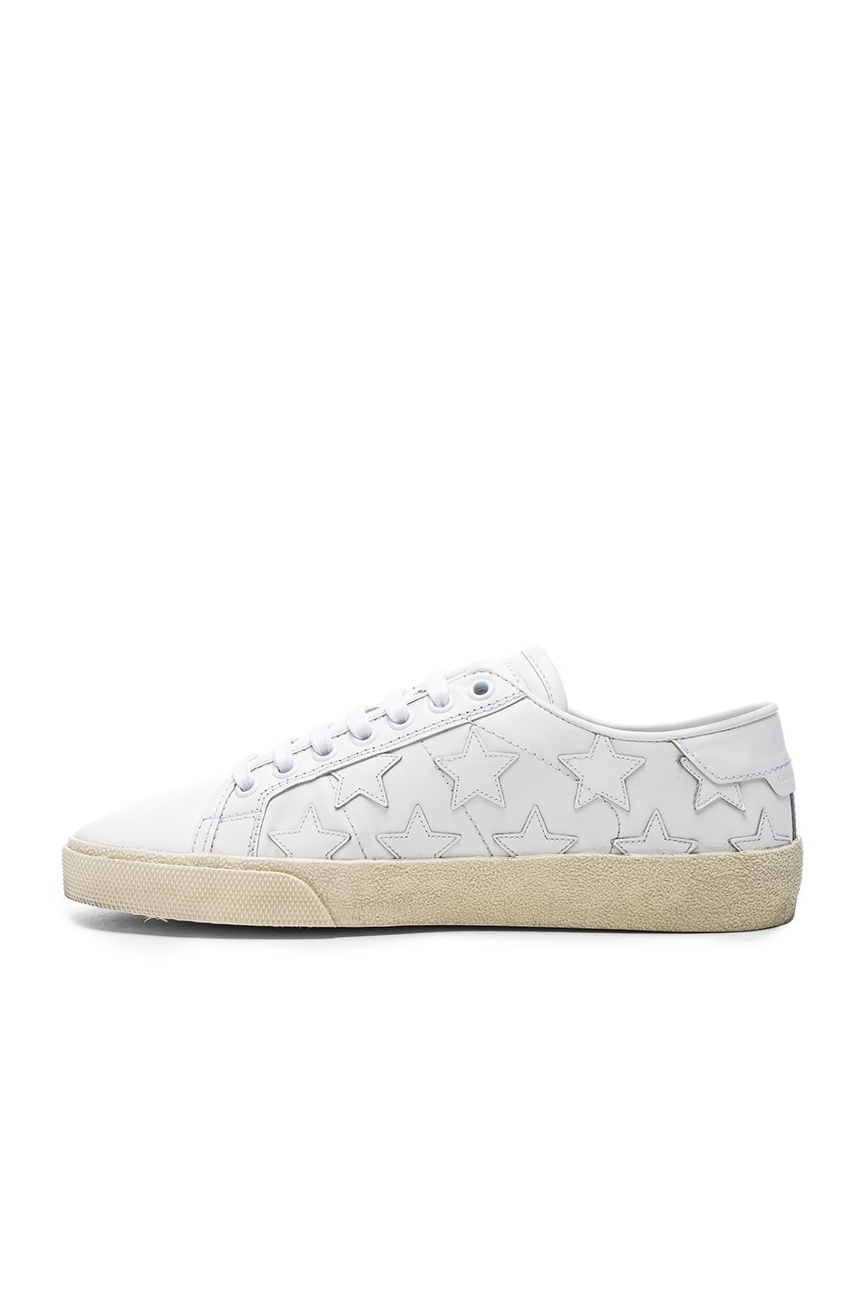 Image 5 of Saint Laurent Leather Court Classic Star Sneakers in Off White
