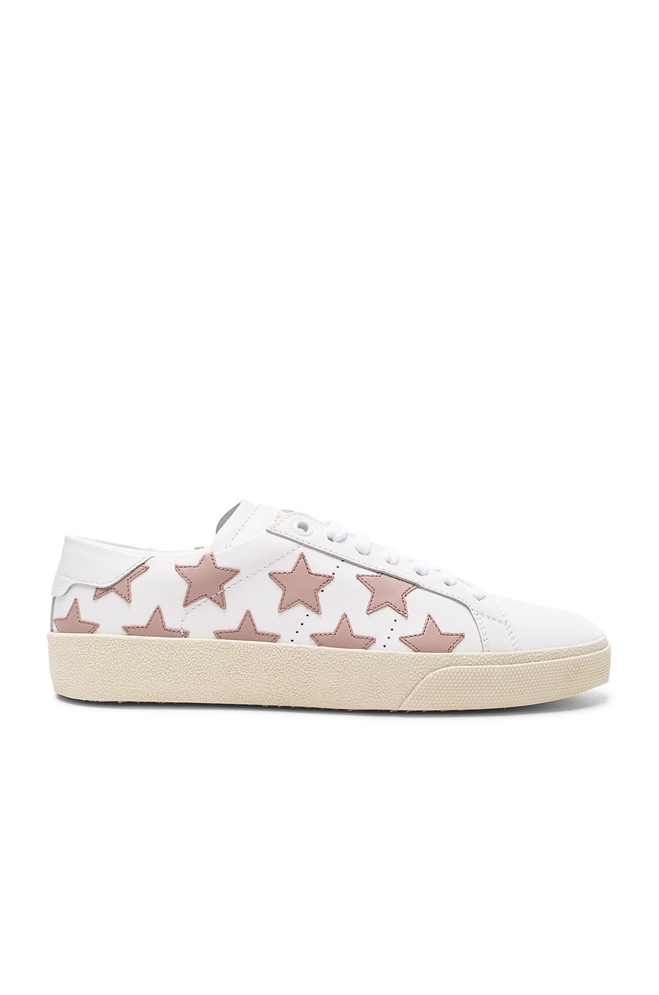 Image 1 of Saint Laurent Leather Court Classic Star Sneakers in Off White & Rose Antic