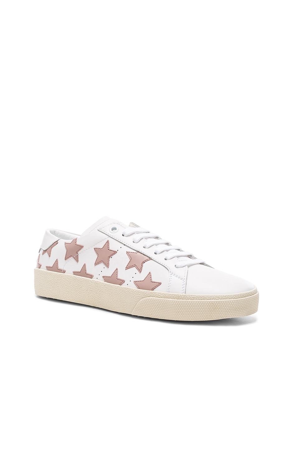 Image 2 of Saint Laurent Leather Court Classic Star Sneakers in Off White & Rose Antic
