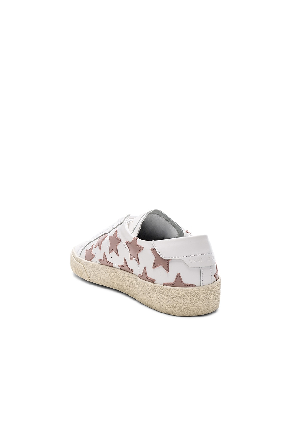 Image 3 of Saint Laurent Leather Court Classic Star Sneakers in Off White & Rose Antic