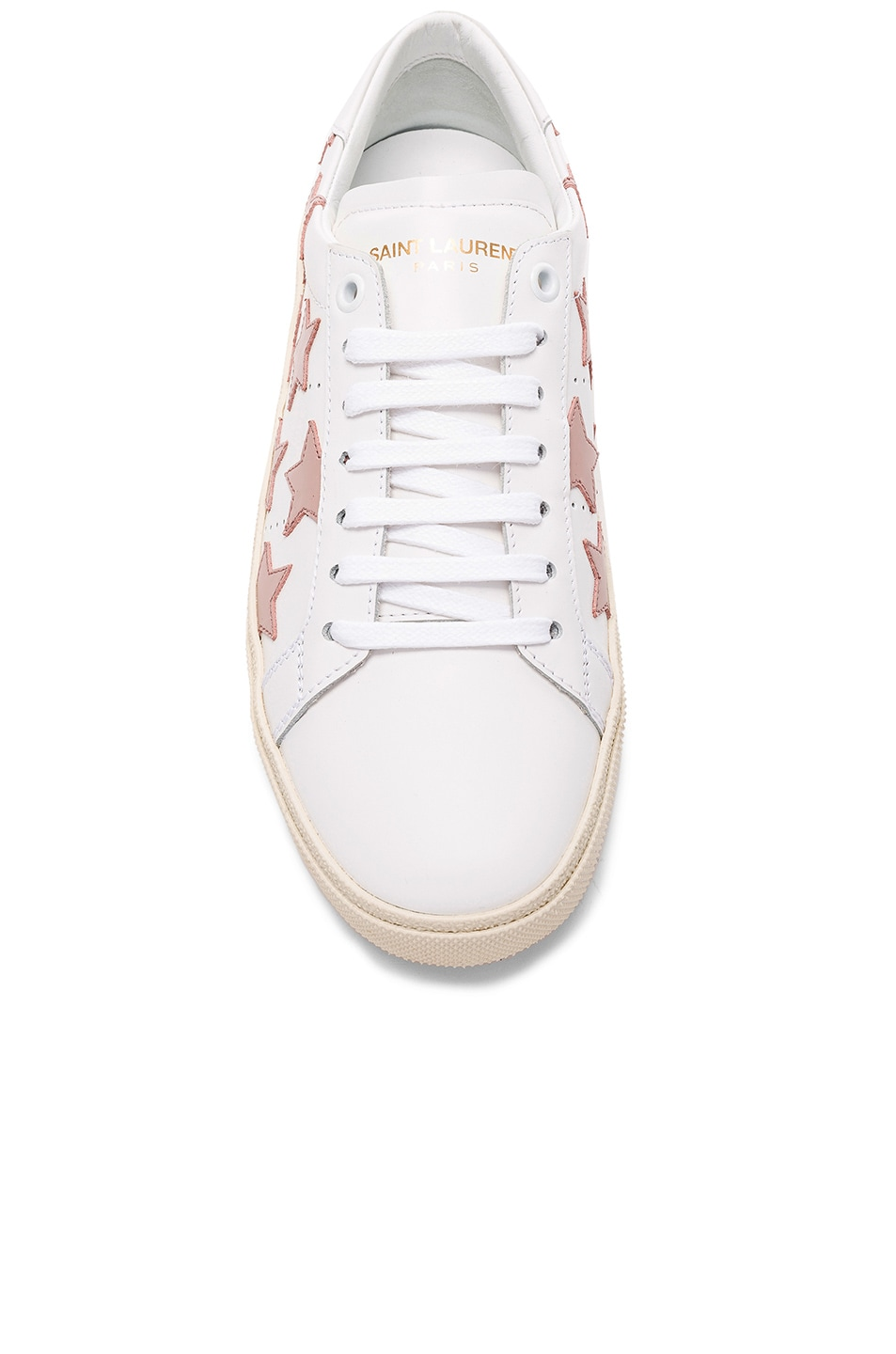 Image 4 of Saint Laurent Leather Court Classic Star Sneakers in Off White & Rose Antic