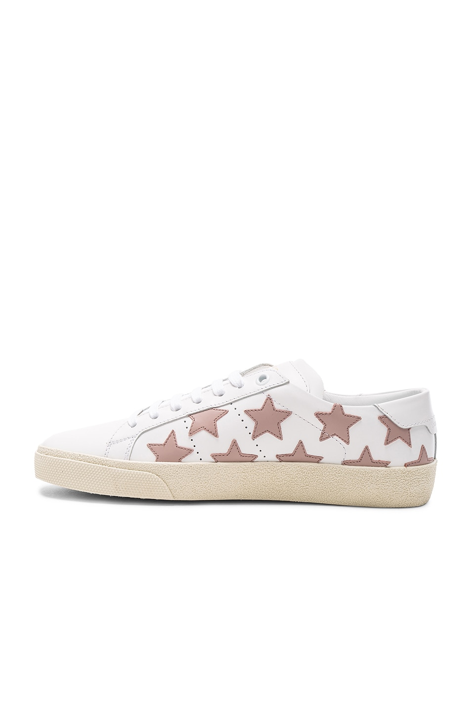 Image 5 of Saint Laurent Leather Court Classic Star Sneakers in Off White & Rose Antic