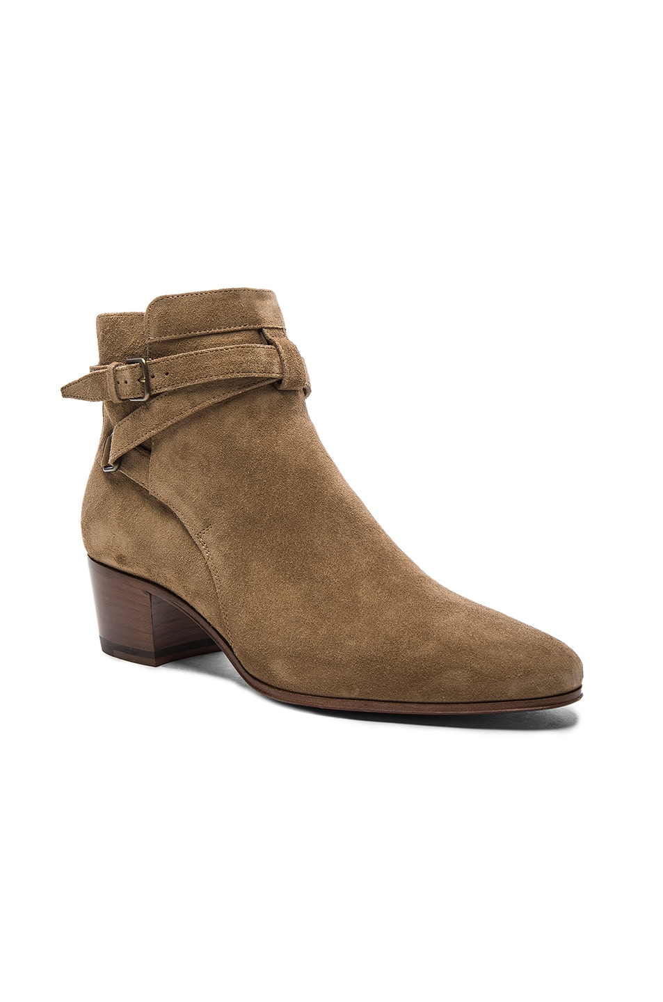 Image 2 of Saint Laurent Suede Blake Boots in Light Cigare