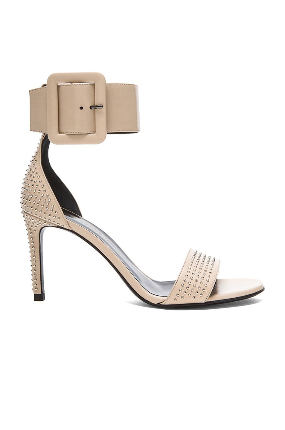 Image 1 of Saint Laurent Jane Studded Leather Ankle Strap Sandals in Poudre & Palladium