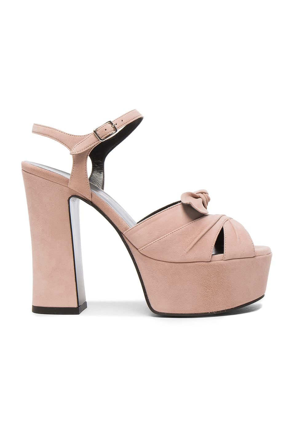 7638aacabcc Image 1 of Saint Laurent Candy Suede Platforms in Rose Antic