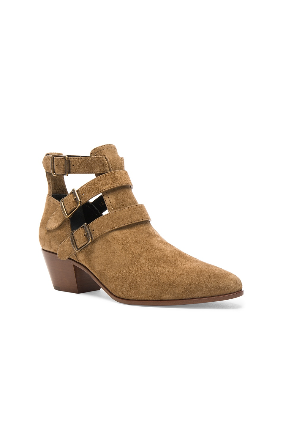 Image 2 of Saint Laurent Suede Rock Boots in Light Cigare