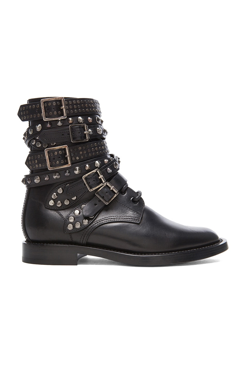 Image 1 of Saint Laurent Rangers Studded Leather Combat Boots in Black