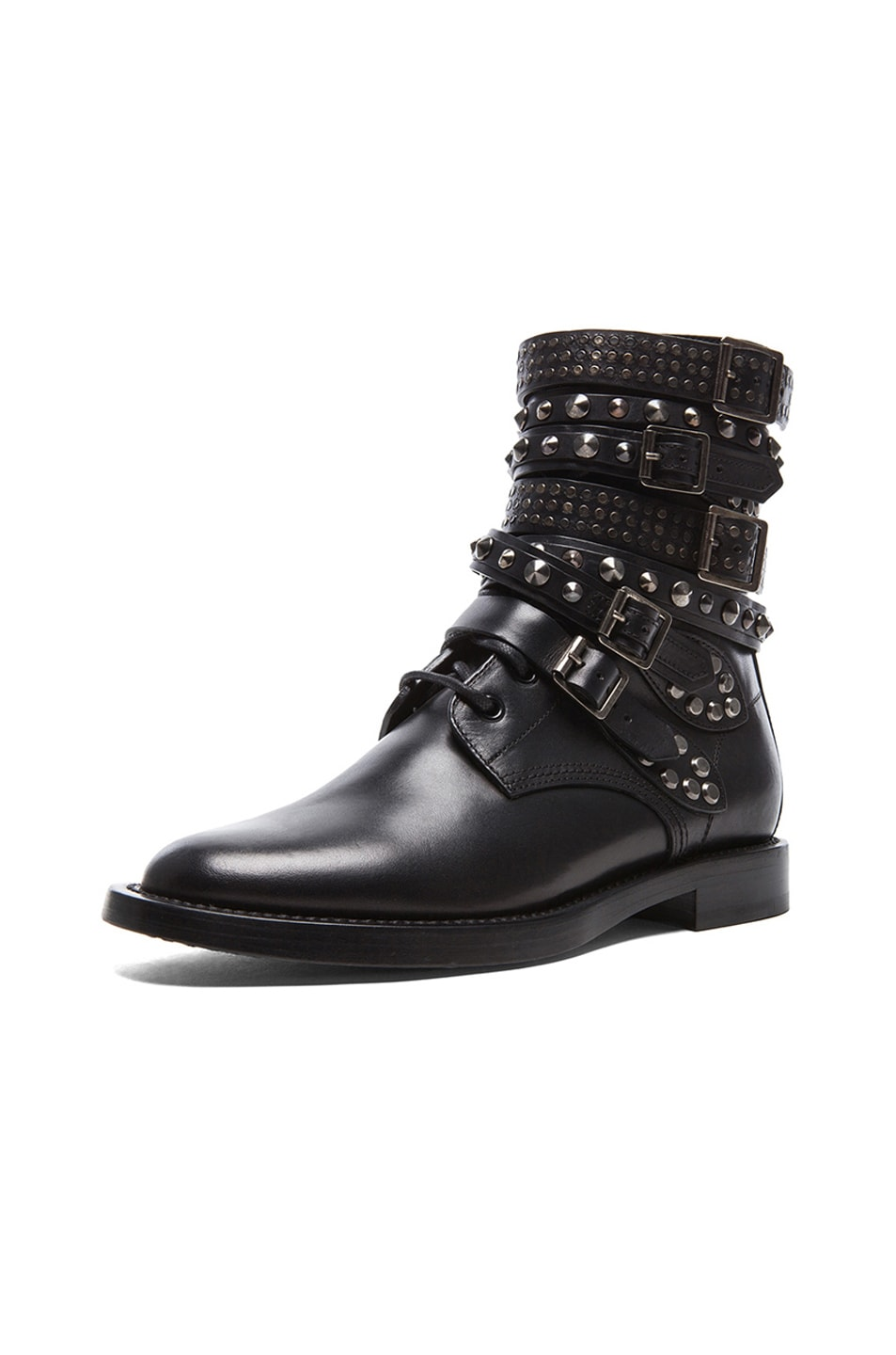 Image 2 of Saint Laurent Rangers Studded Leather Combat Boots in Black