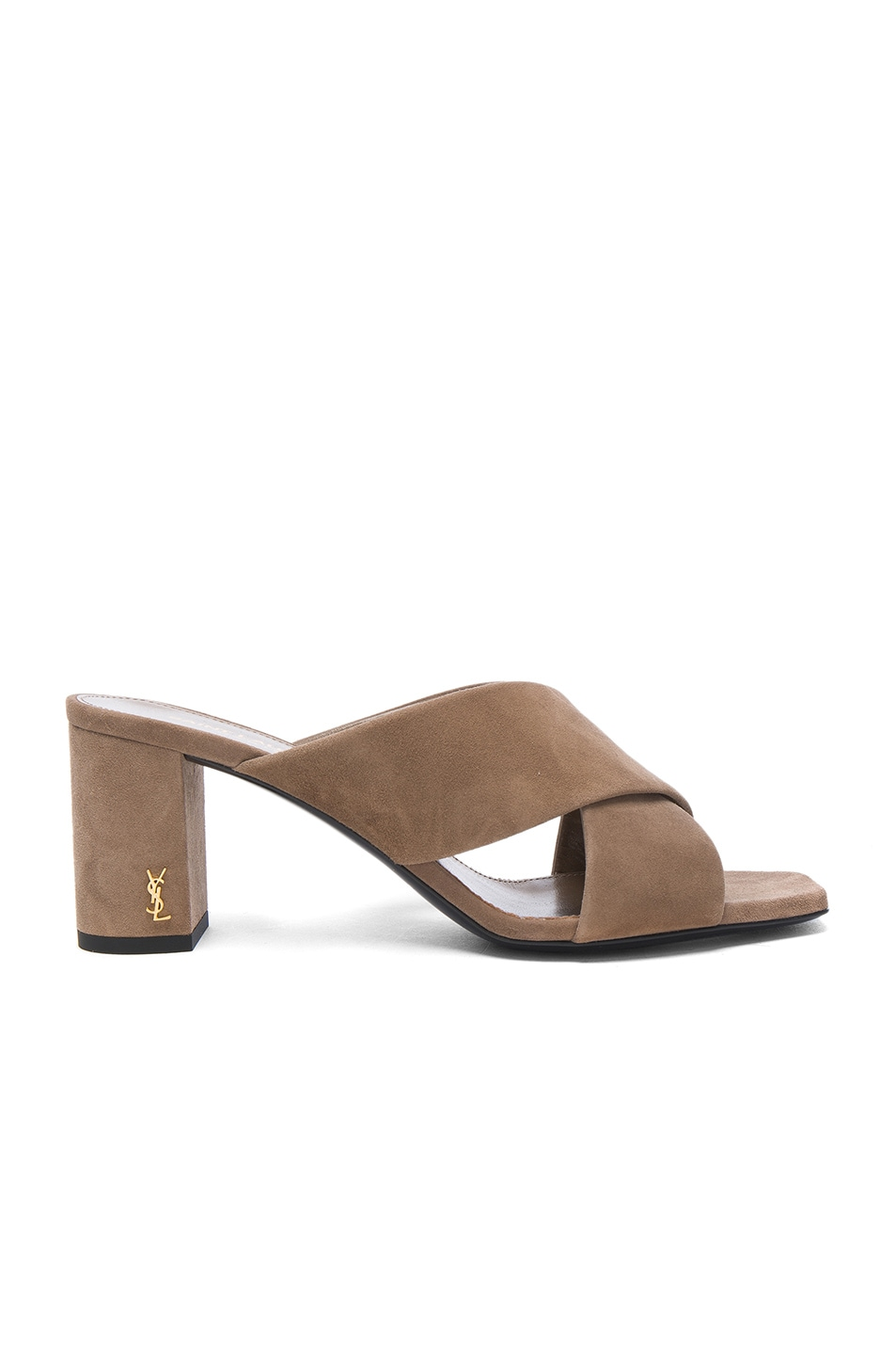 Image 1 of Saint Laurent Suede Loulou Mules in Taupe