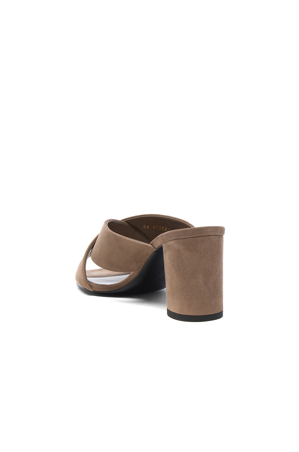 Image 3 of Saint Laurent Suede Loulou Mules in Taupe