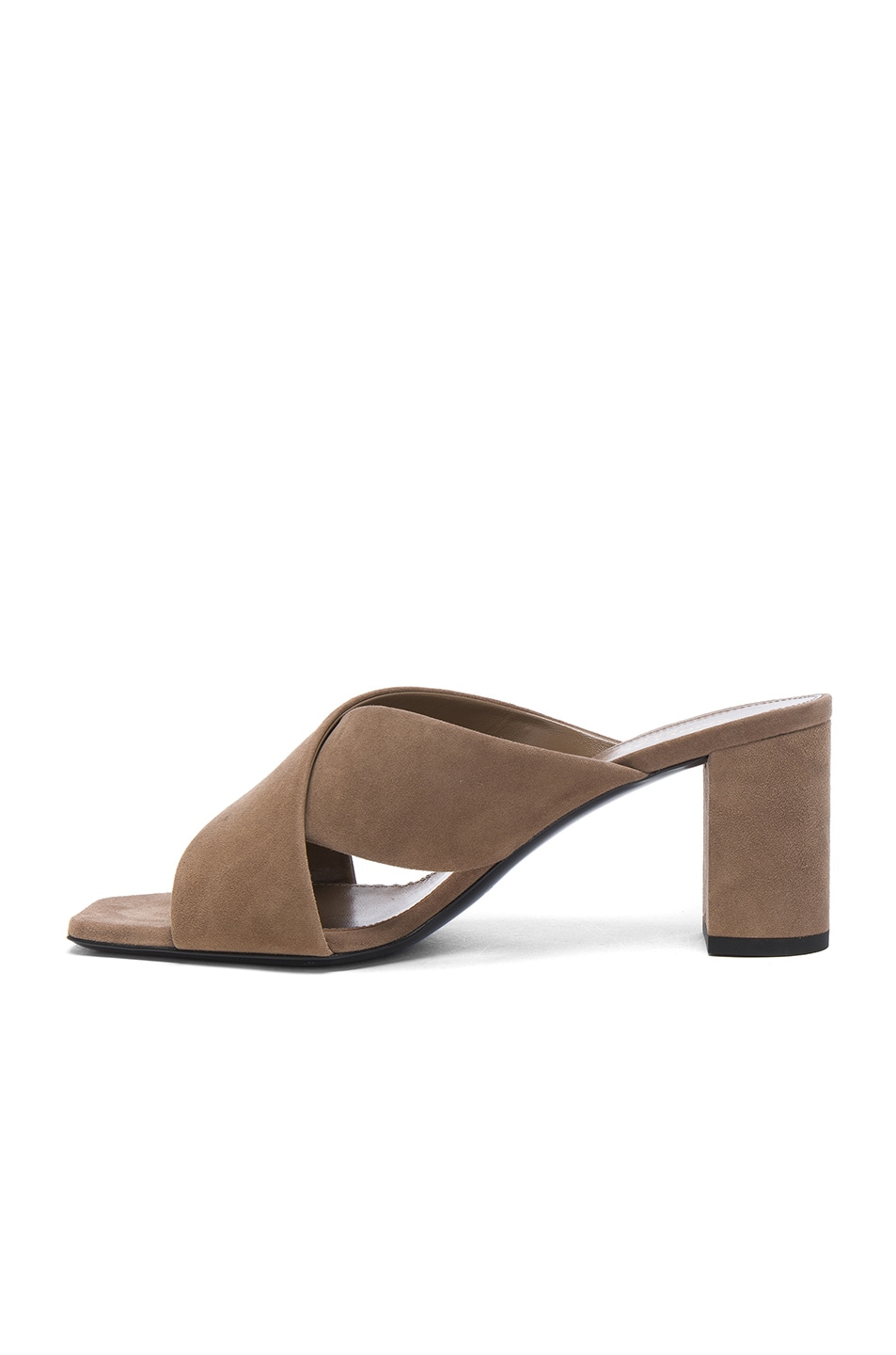 Image 5 of Saint Laurent Suede Loulou Mules in Taupe