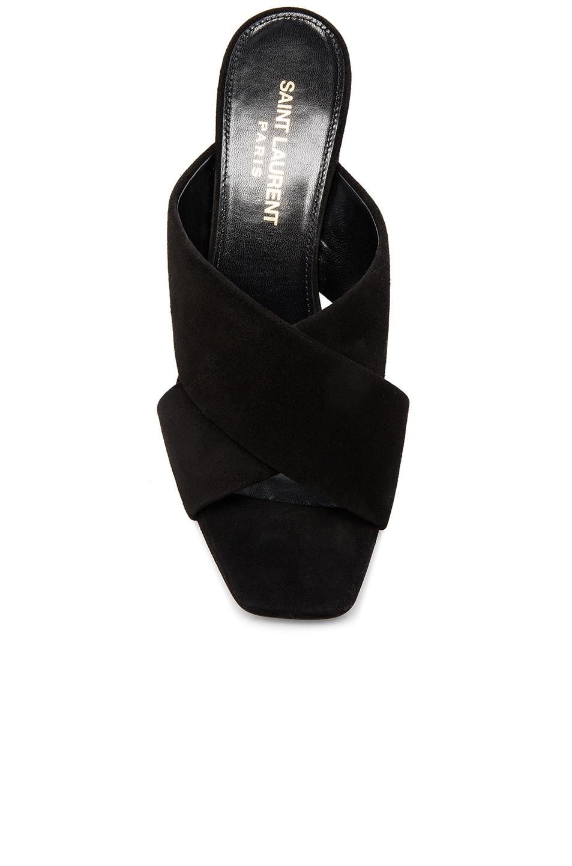 Image 4 of Saint Laurent Loulou Suede Mules in Black
